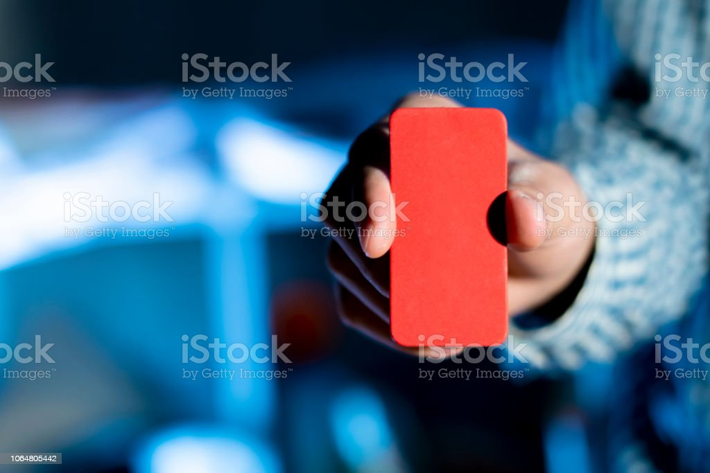 businessman holding an empty business card with copy space f stock photo