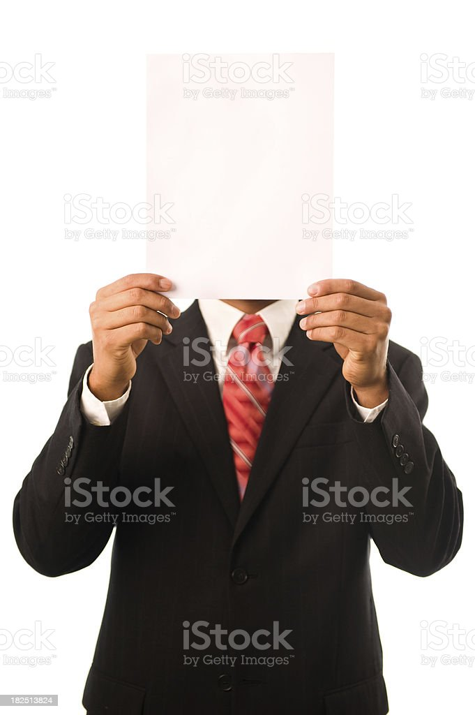 Businessman holding an empty paper royalty-free stock photo
