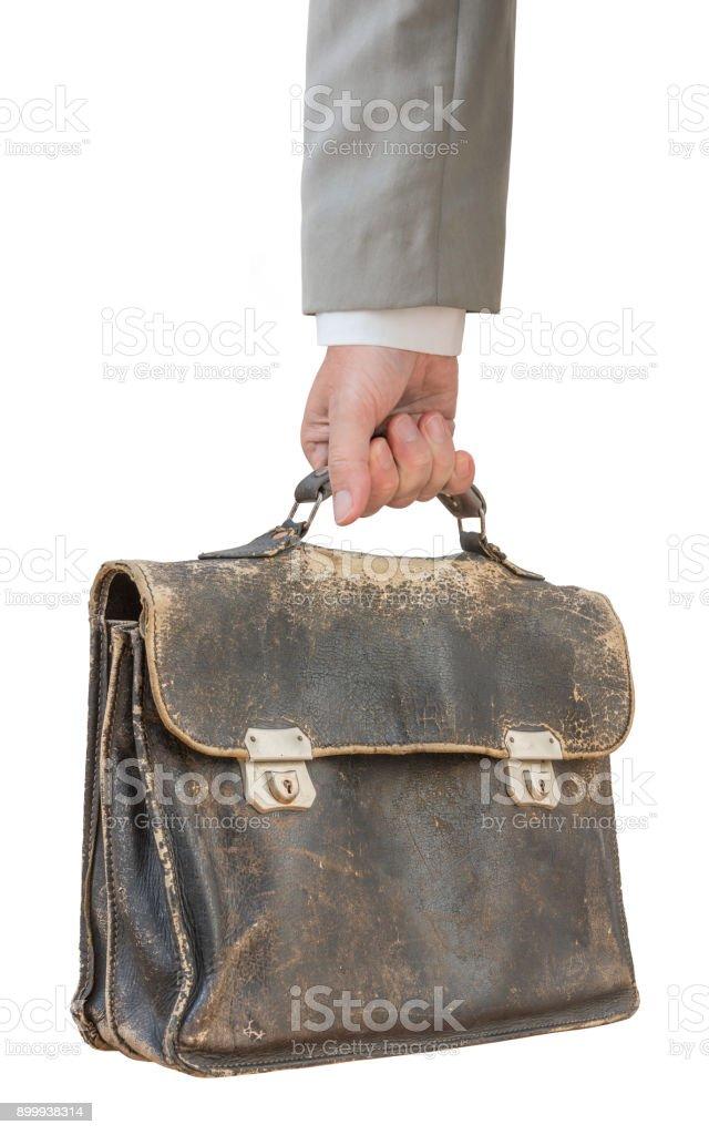 Empresário, segurando a pasta de couro antigo isolada no branco - foto de acervo