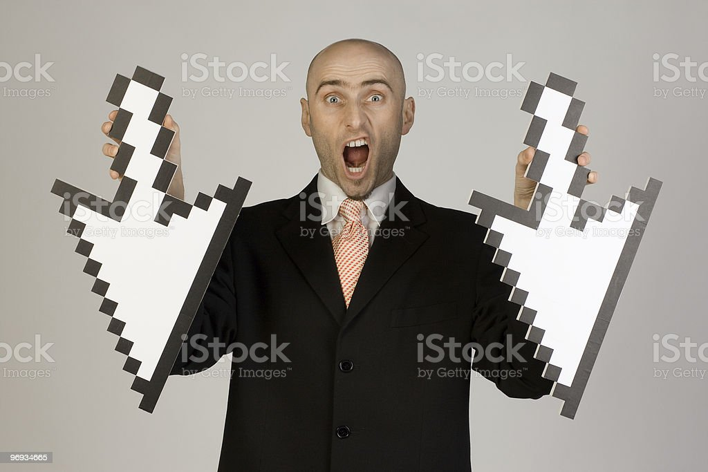 Businessman holding arrows royalty-free stock photo