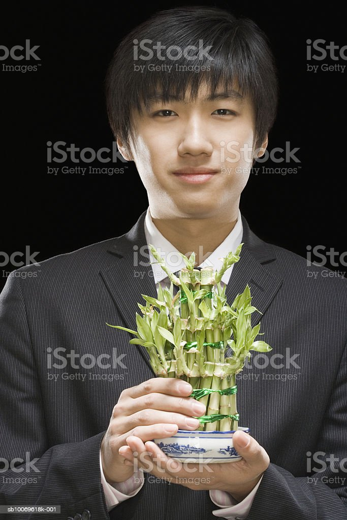 businessman holding bamboo plant, portrait, close-up foto royalty-free