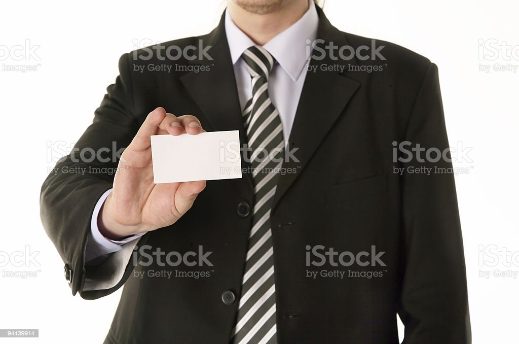 Businessman holding blank business card royalty-free stock photo