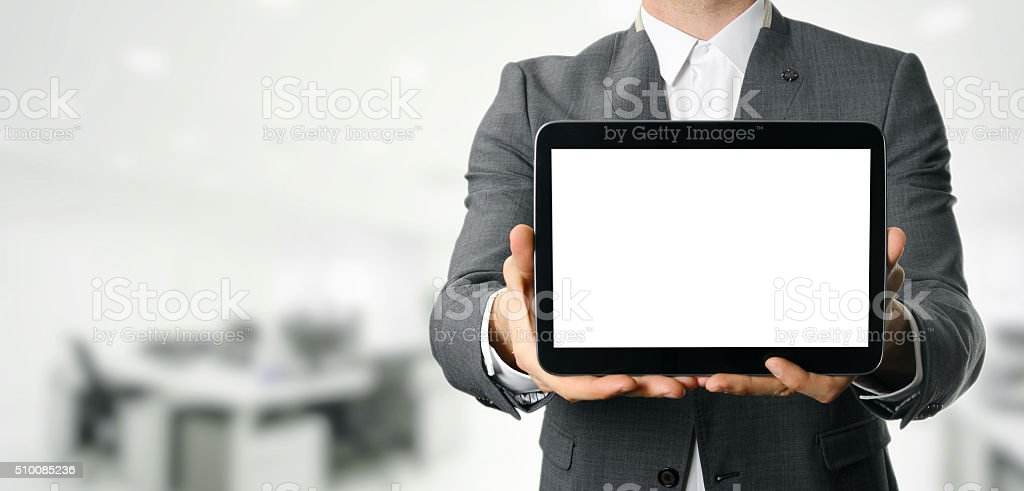 businessman holding blank digital tablet with copy space stock photo