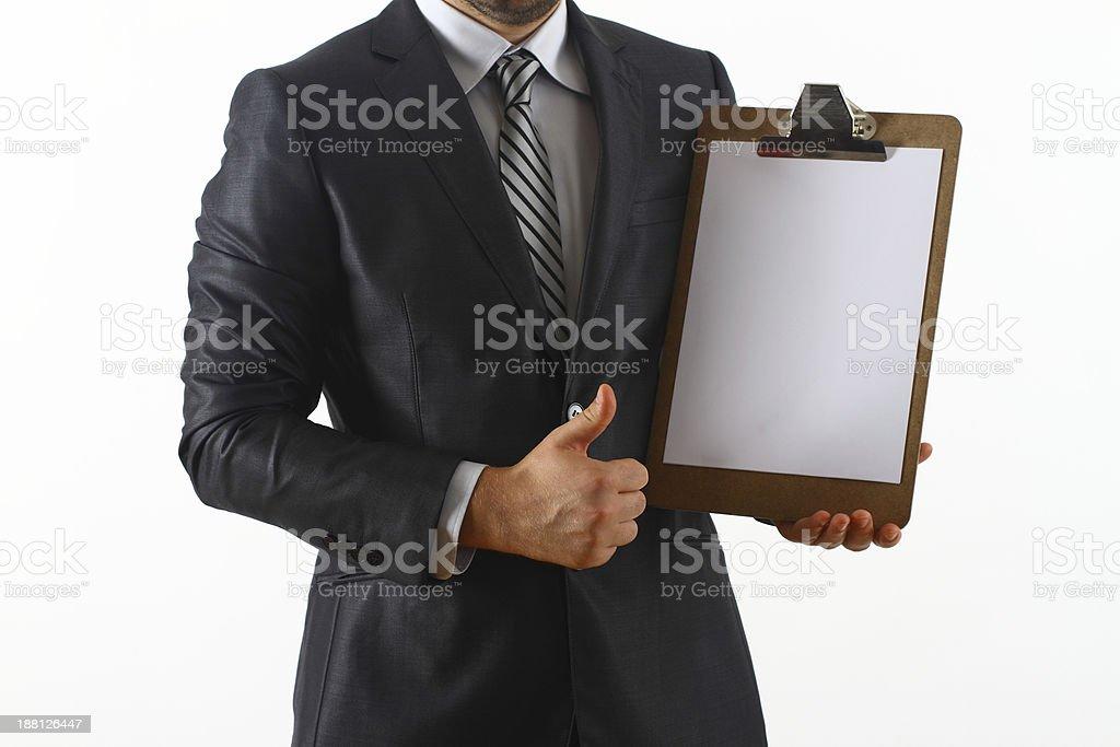 Geschäftsmann Holding leere Papier – Foto