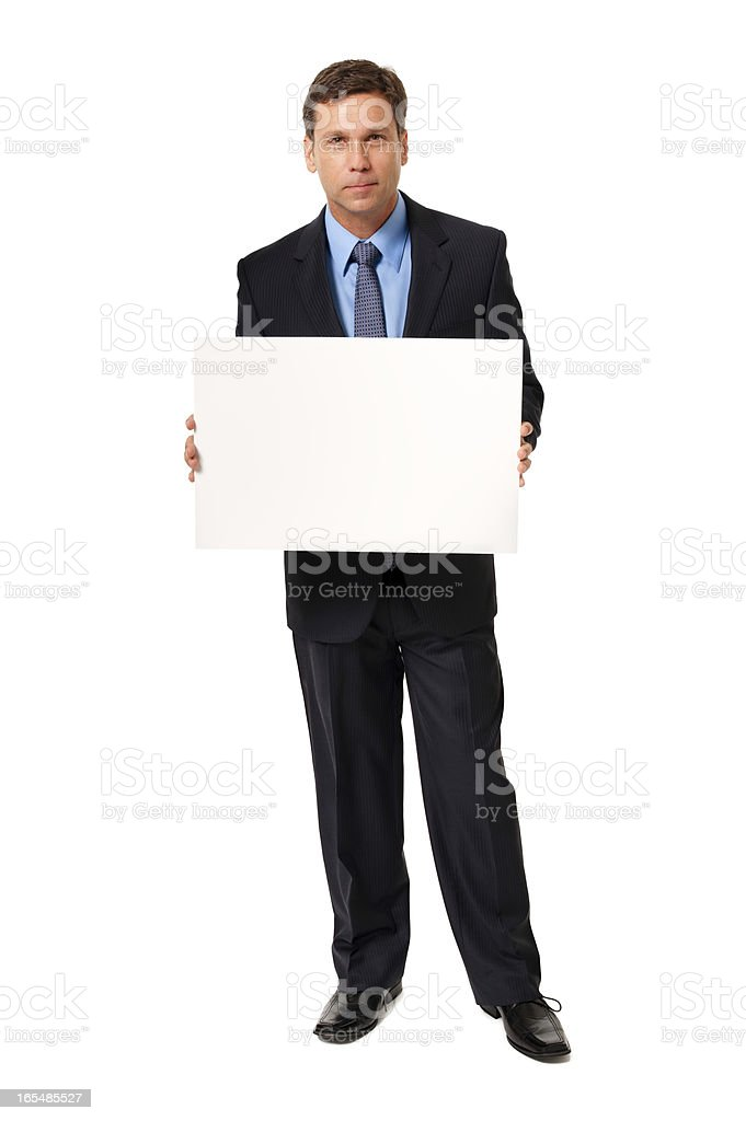 Businessman Holding Blank Sign Isolated on White Background royalty-free stock photo