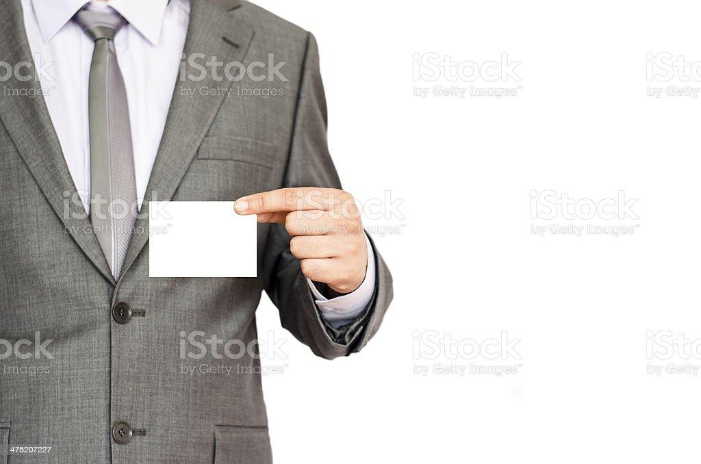 businessman holding blank sign royalty-free stock photo