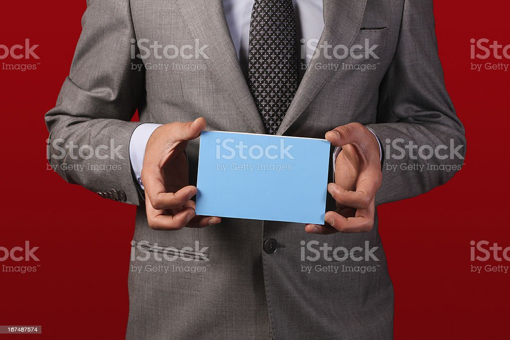 Businessman Holding Board royalty-free stock photo