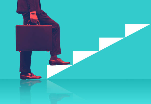 businessman holding briefcase walking on graphic stair, start up business concepts. - staircase stock photos and pictures
