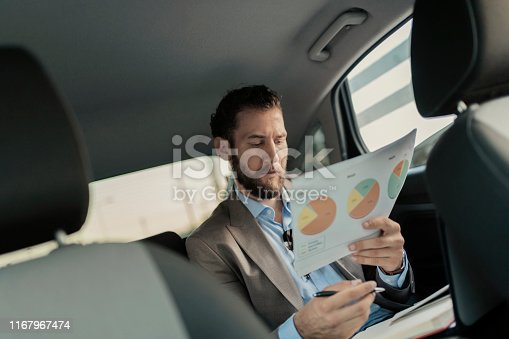 istock Businessman Holding Business Chart on the Back Seat of the Car 1167967474