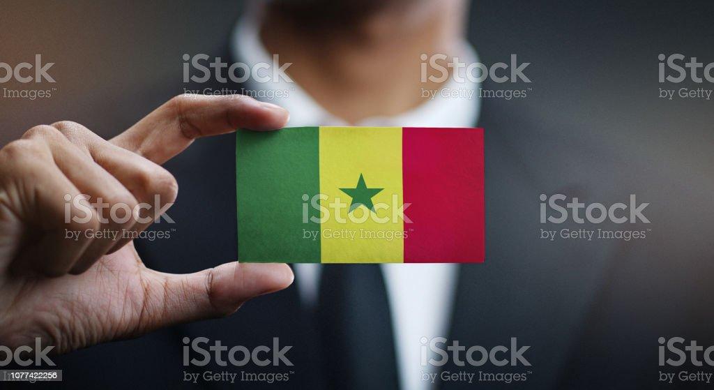 Empresário, segurando o cartão da bandeira do Senegal - foto de acervo
