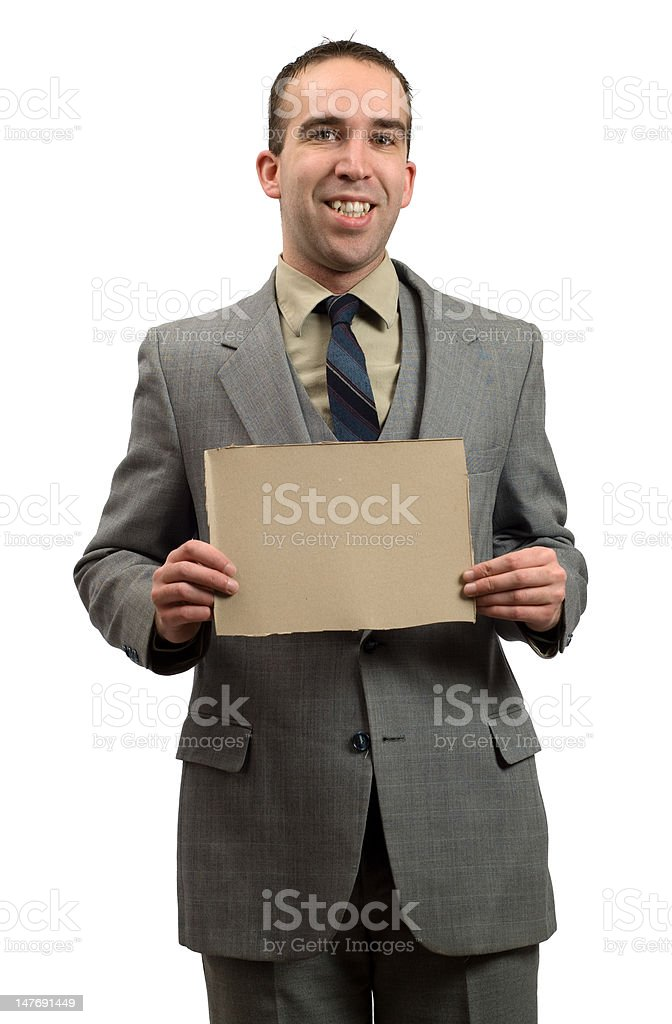 Businessman Holding Cardboard Sign royalty-free stock photo