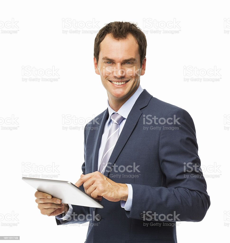 Businessman Holding Digital Tablet - Isolated royalty-free stock photo