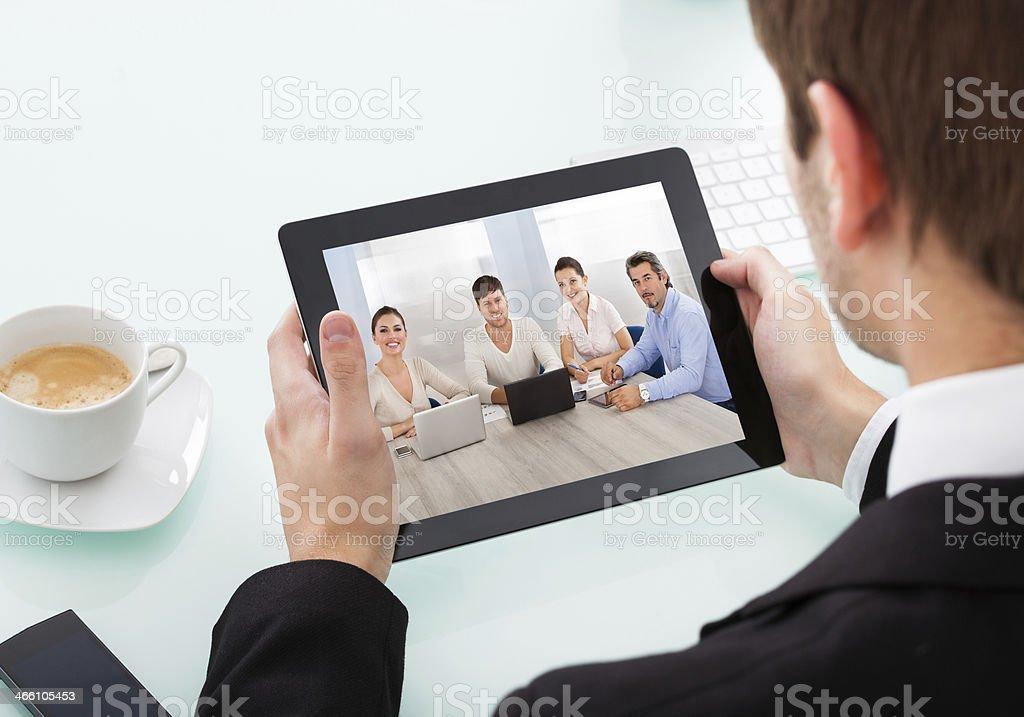 Businessman Holding Digital Tablet royalty-free stock photo
