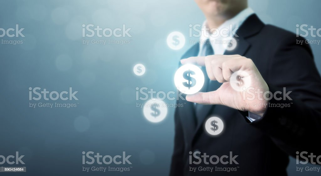 Businessman holding dollar currency icon, Successful money financial investment concept stock photo