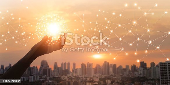 istock Businessman holding global network and data customer connection on big city background 1165058035