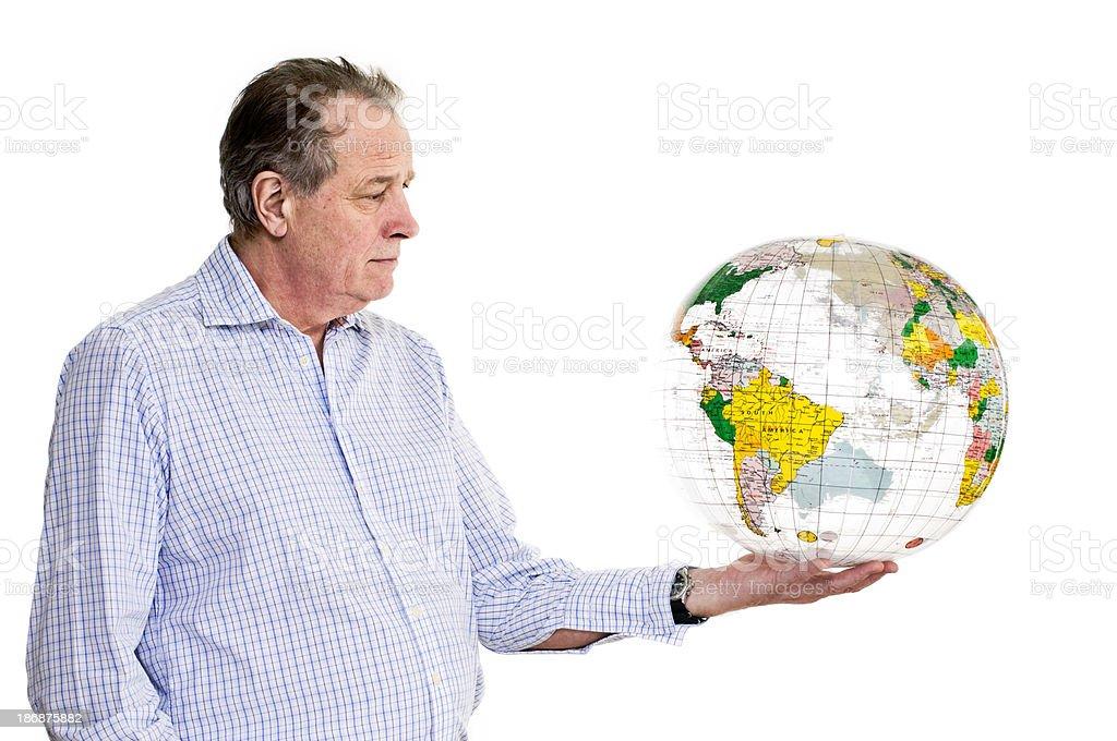 Businessman Holding Globe. stock photo