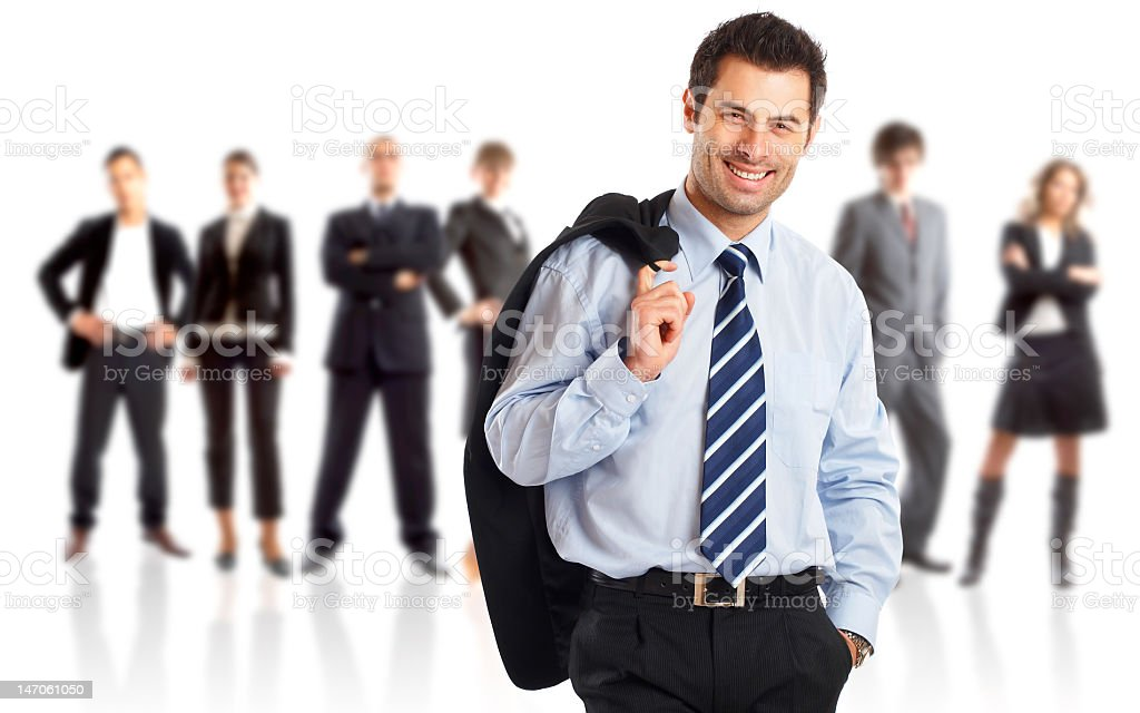 Businessman holding his jacket with teammates in the back royalty-free stock photo