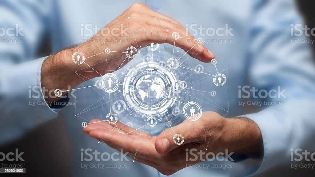 Businessman holding in hand a global connection,communications concept - foto de acervo