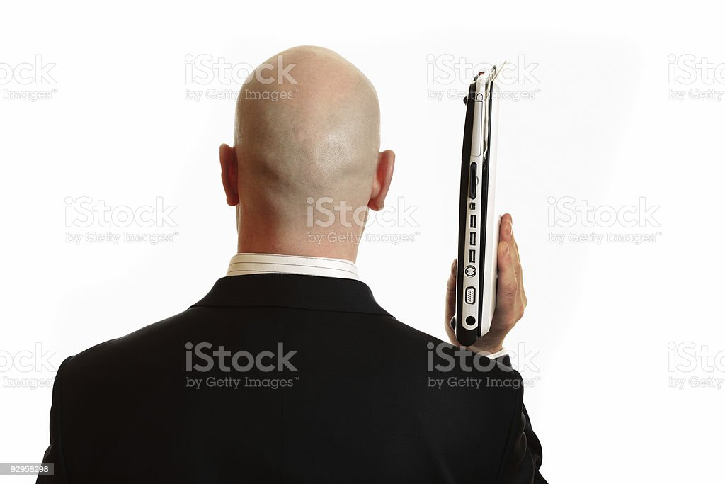 Businessman holding Laptop royalty-free stock photo