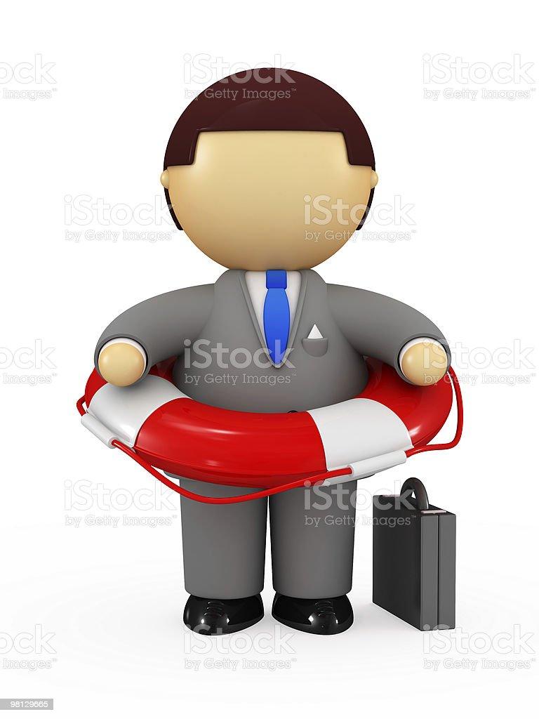 Businessman holding life belt royalty-free stock photo