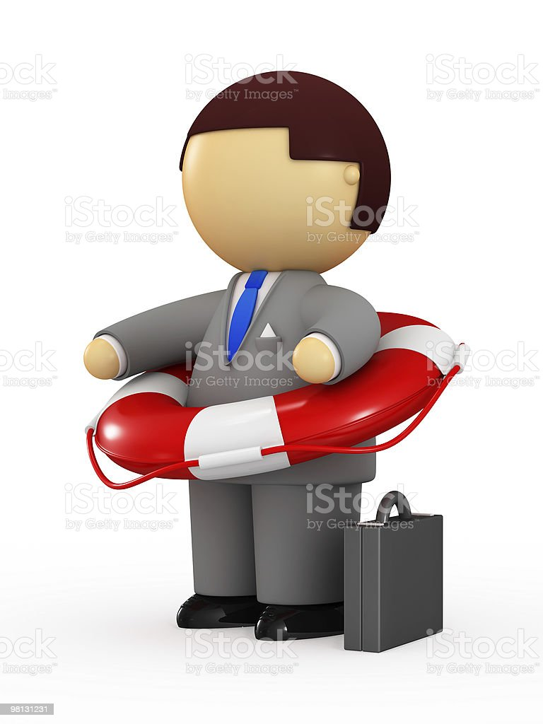 Businessman holding life belt royalty-free stock photo