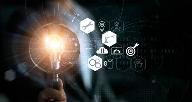 businessman holding magnifying glass and light bulb. idea and imagination. creative and inspiration. innovation icon network connection. search engine optimisation. innovative technology in science and industrial concept - customize stock pictures, royalty-free photos & images