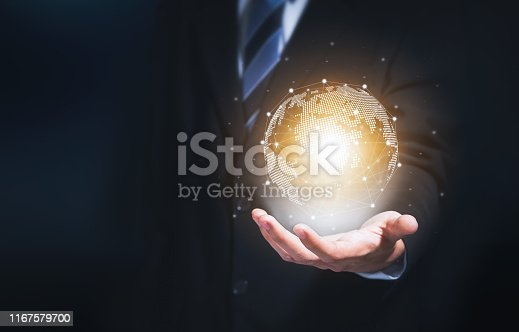 istock Businessman holding modern circle global network for worldwide international connection, Technology iot (Internet of think). 1167579700