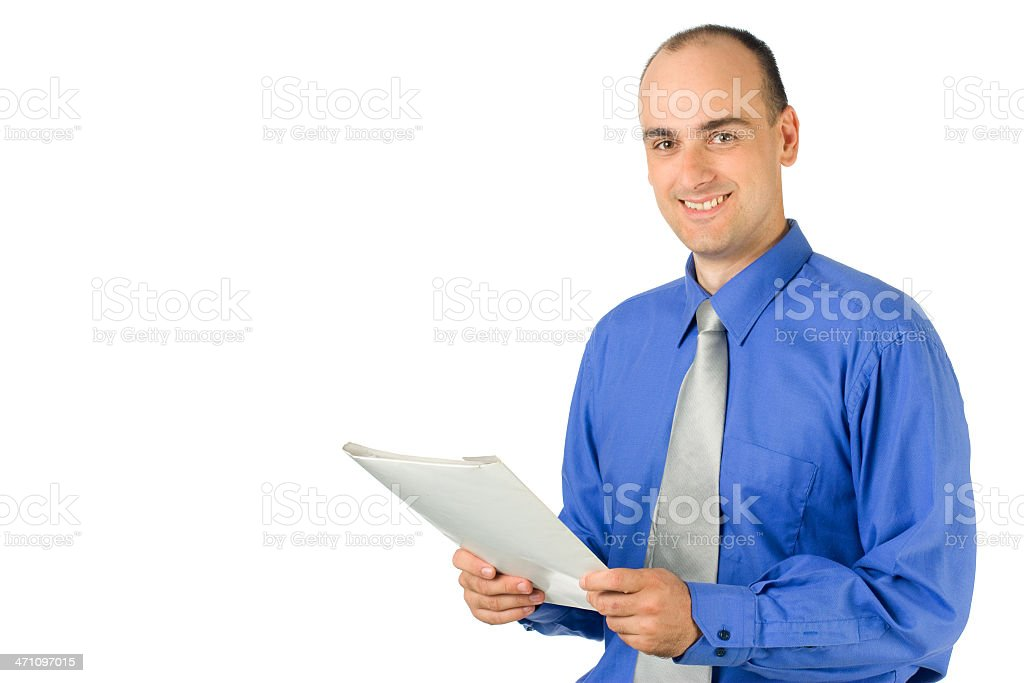 Businessman holding paper royalty-free stock photo