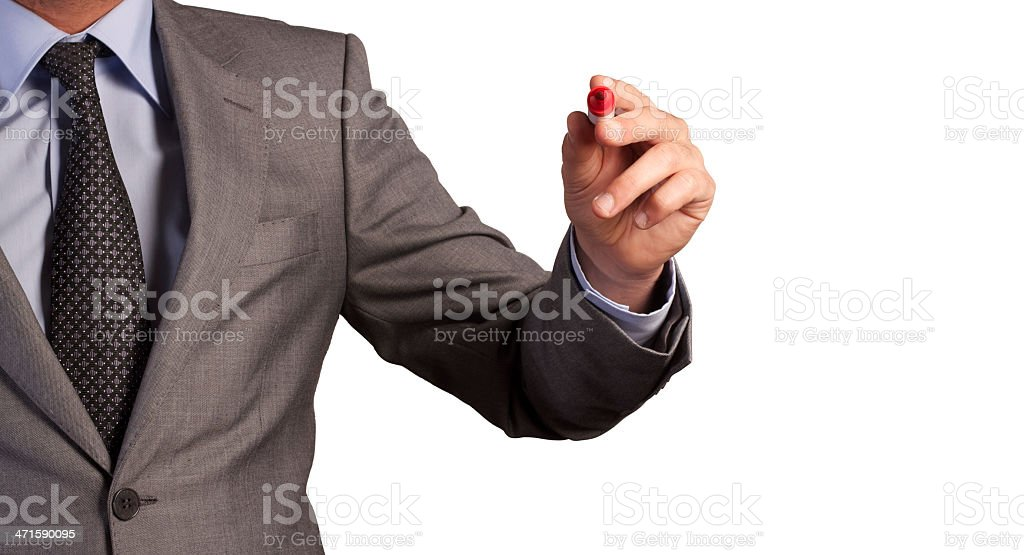 Businessman holding pen and ready to writing royalty-free stock photo