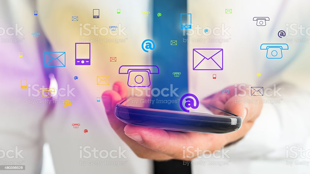 Businessman Holding Phone for Contact Concept stock photo