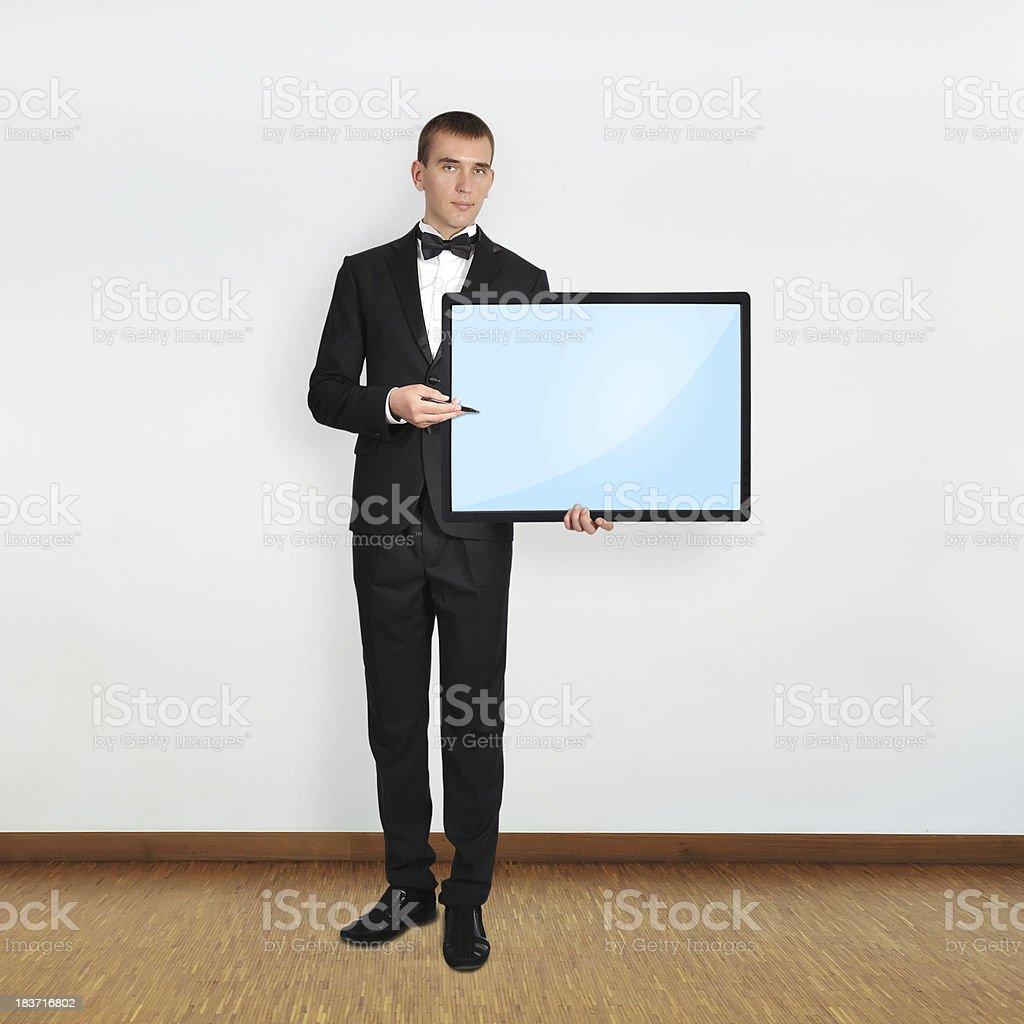 businessman holding plasma royalty-free stock photo