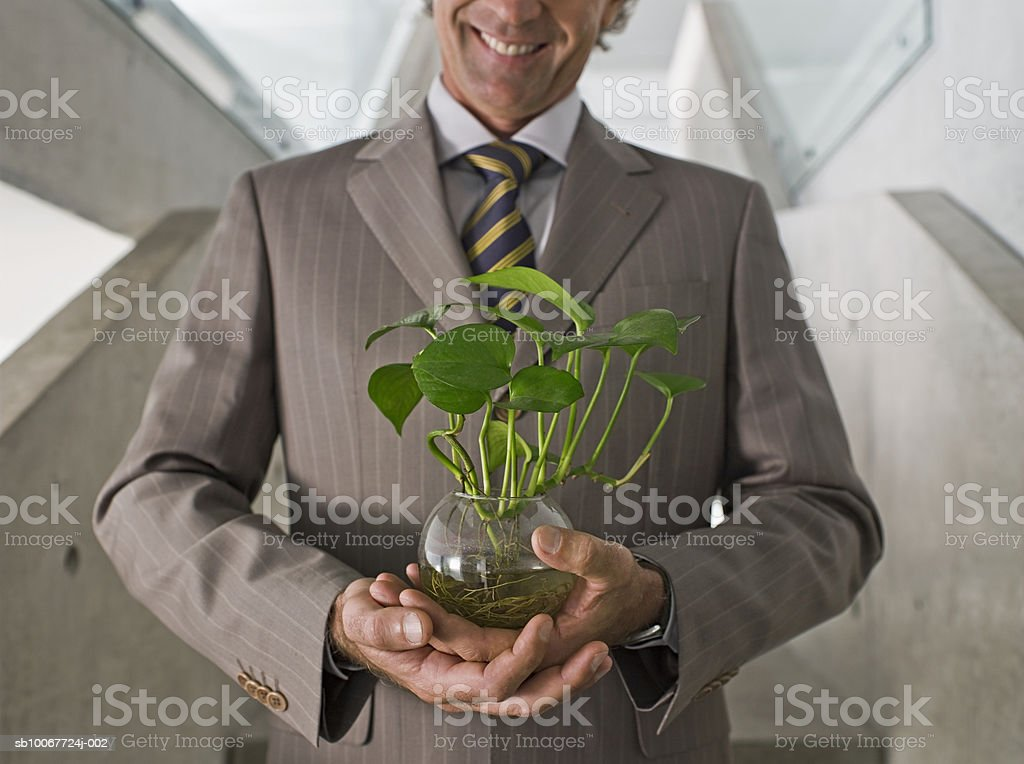 Businessman holding potted plant on stairs, mid section Lizenzfreies stock-foto