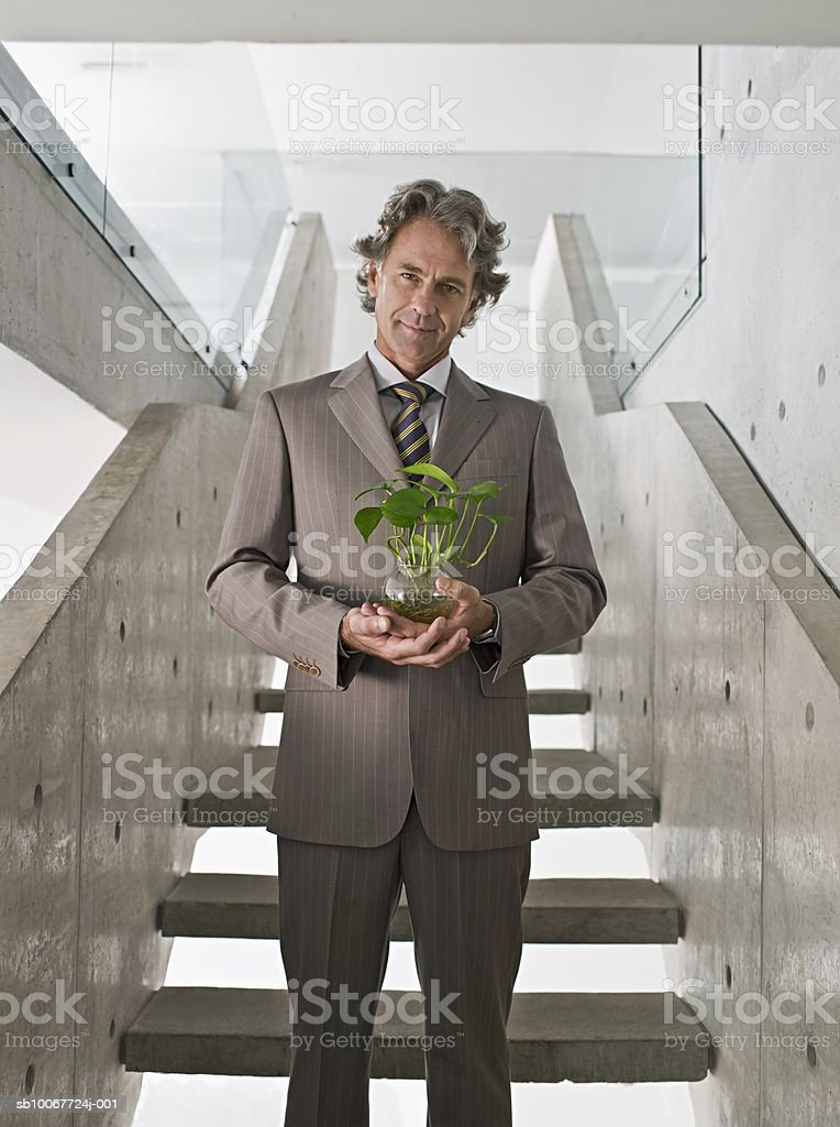 Businessman holding potted plant on stairs, portrait royalty-free stock photo
