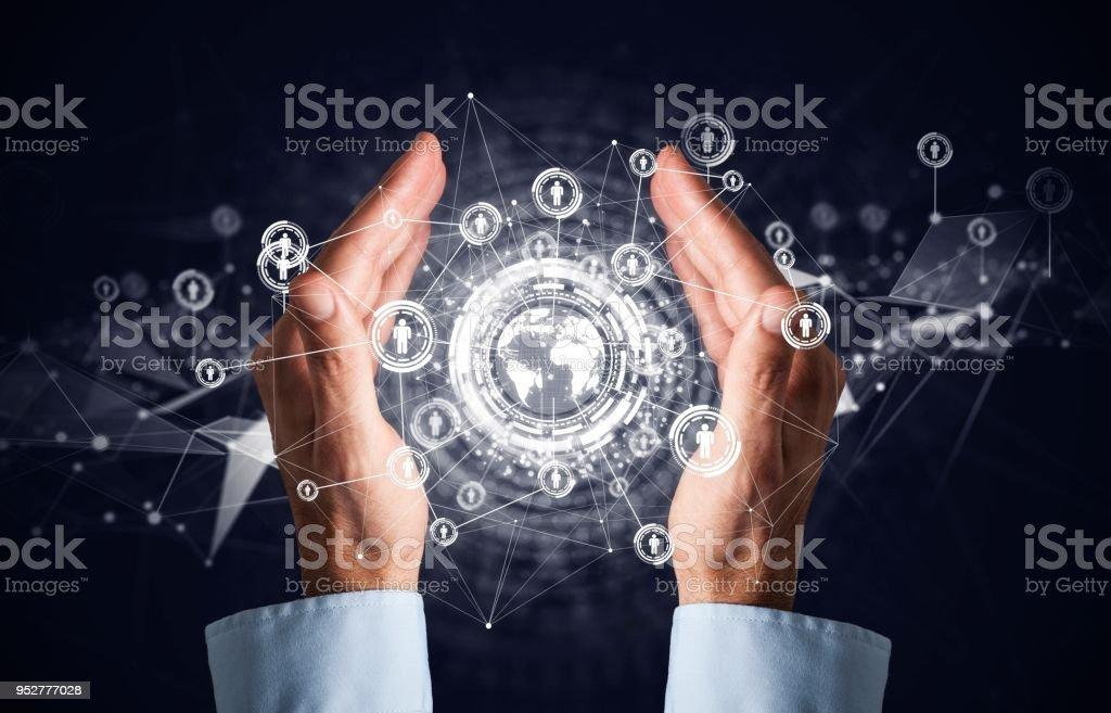 Geschäftsmann Holdingstruktur social-Media Netzwerk Symbole – Foto