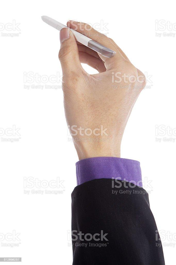Businessman holding stylus pen stock photo