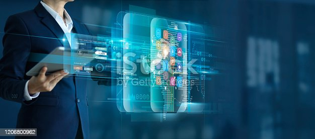 865596974istockphoto Businessman holding tablet with touching icon digital marketing  global network connection and analyzing business sales data, investment and financial, growth graph, on virtual interface background. 1206800962