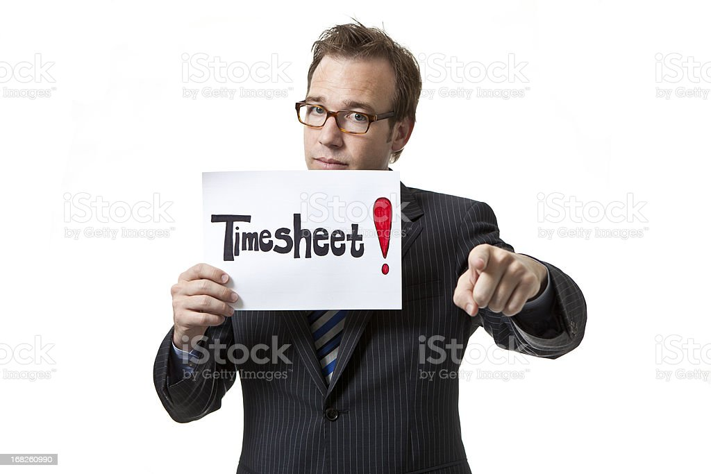 Businessman holding timesheet sign royalty-free stock photo