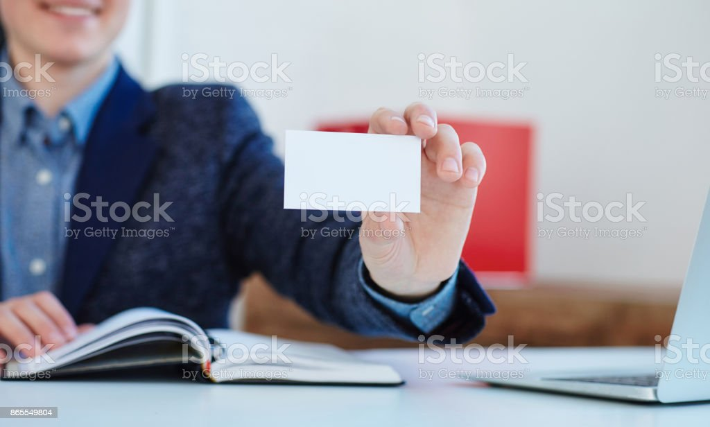 Businessman Holding Visit Card Man Showing Blank Business Card ...