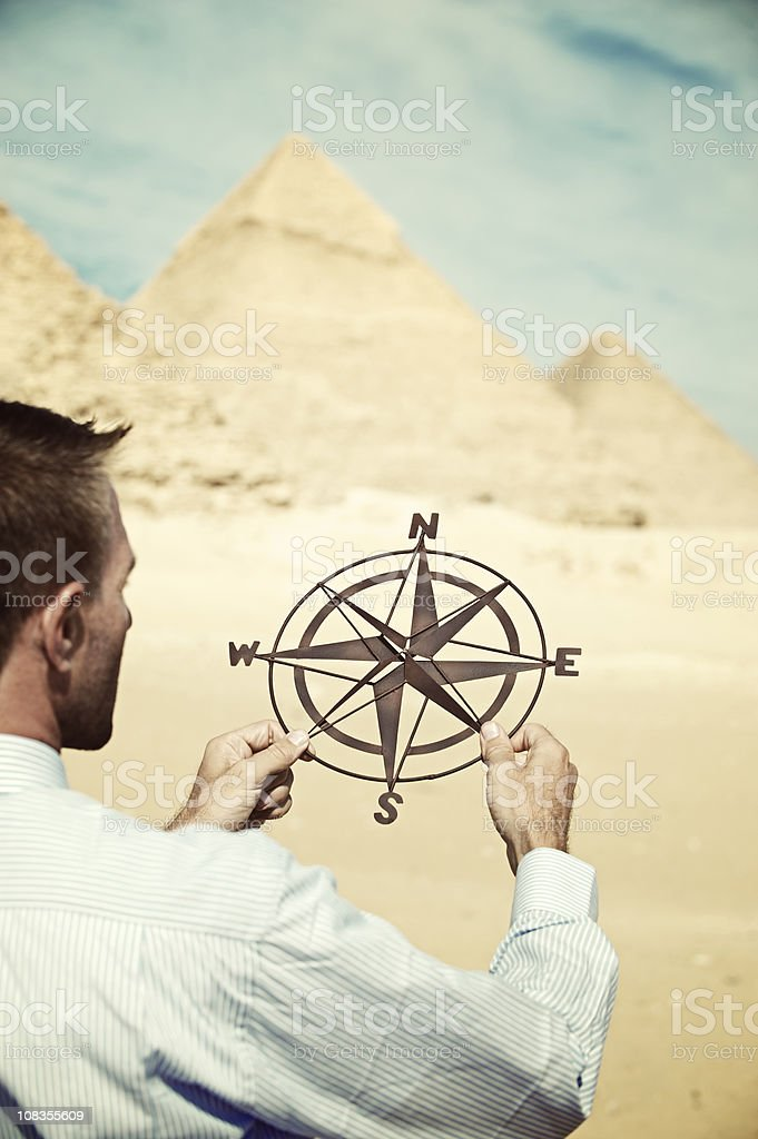 Businessman Holds Compass in the Desert royalty-free stock photo