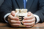 istock Businessman hugs indian rupee money bags. Granting financing business project or education. Trade, economics. Corruption. Provision financial loan credit. Bank deposit. Budget, tax collection. 1205581593