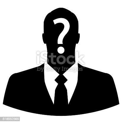 istock Businessman icon with question mark on his head 518552565