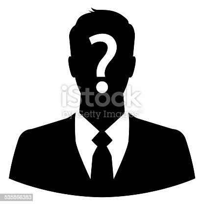istock Businessman icon with question mark on his head 535866383