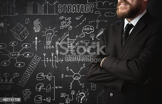 istock Businessman Idea Concept on blackboard 492741106