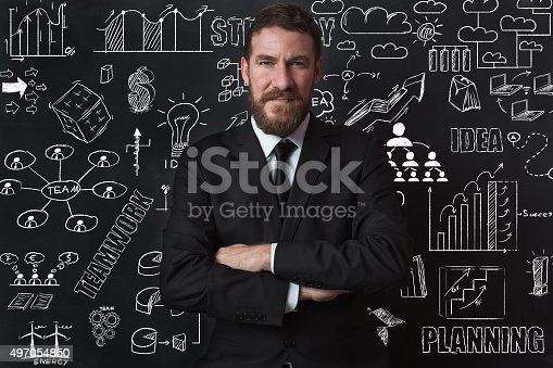 istock Businessman Idea Concept on blackboard 497054850