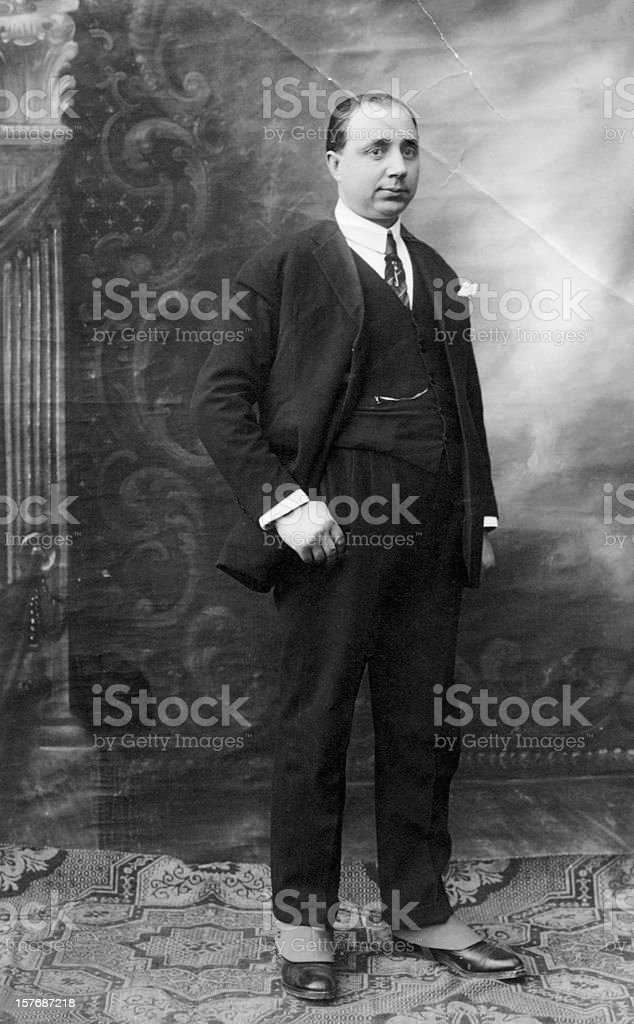 Businessman in 1920,Black And White. stock photo