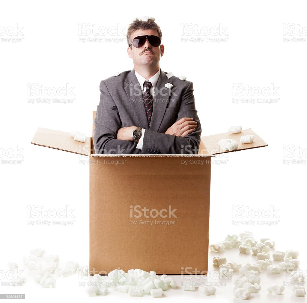 Businessman in a box stock photo