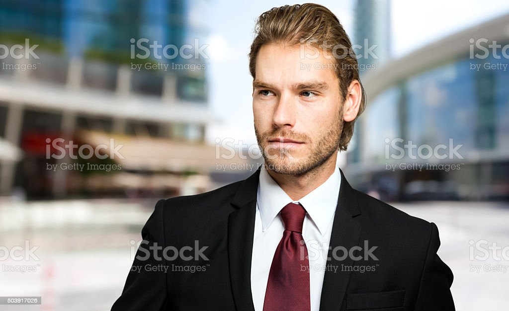 Businessman in a business environment stock photo