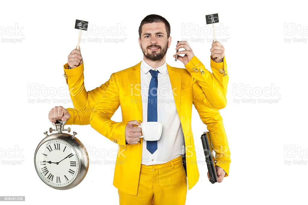 businessman in a golden suit is very multipurpose stock photo