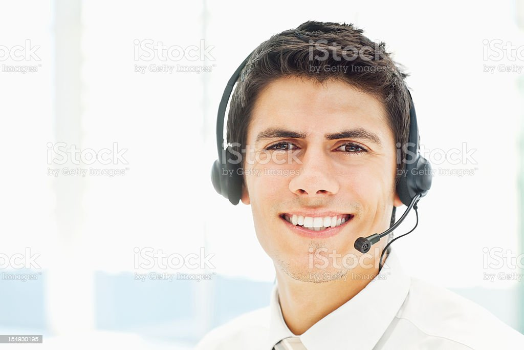 Businessman in a Headset royalty-free stock photo