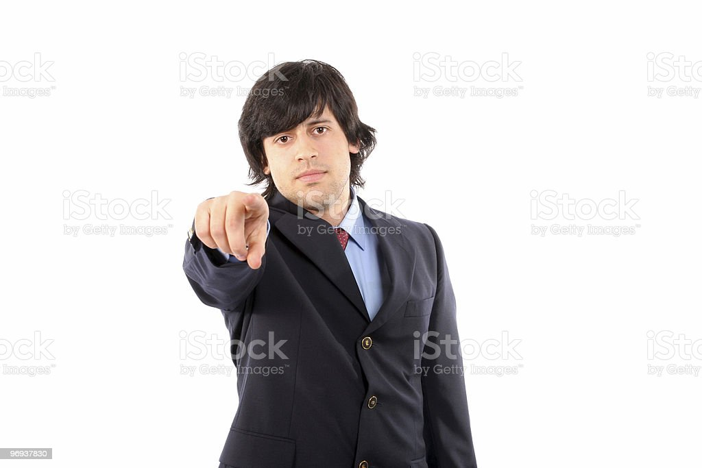 Businessman in a suit gestures with his finger royalty-free stock photo